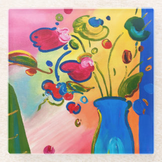 Peter Max inspired Flowers Glass Coaster