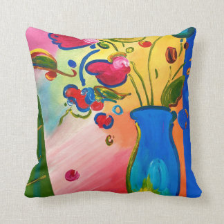 Peter Max Inspired Flowers Throw Pillow