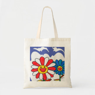 Peter Max style Hippie happy flowers Bags