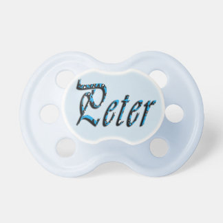 Peter, Name, Logo, Baby Boys Blue Pacifier Dummy