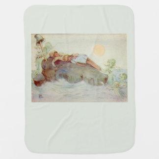 Peter Pan and Wendy Asleep with Mermaids green Stroller Blanket