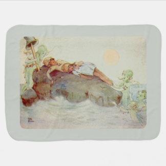 Peter Pan and Wendy Asleep with Mermaids Receiving Blanket