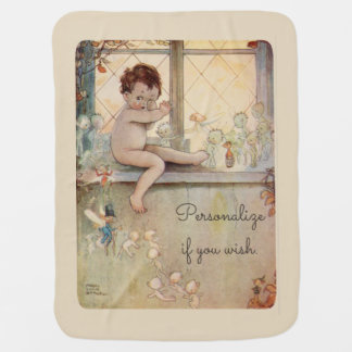 Peter Pan at window - fairies -beige background Swaddle Blanket