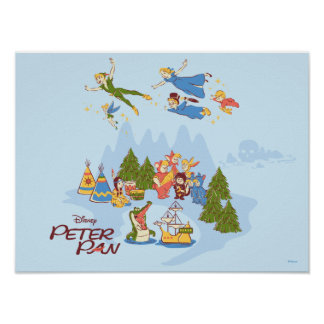 Peter Pan Flying over Neverland Poster