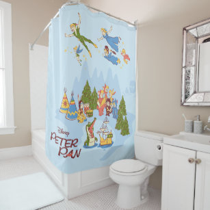 Peter Pan Flying Over Neverland Shower Curtain