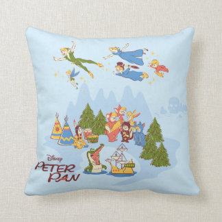Peter Pan Flying over Neverland Throw Pillow