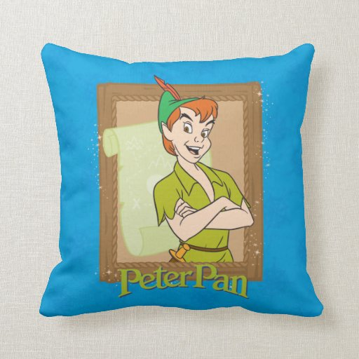 Peter pan frame throw pillow zazzle for Pillow back bed frame