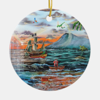 Peter Pan Hook's cove Tinker Bell painting Ceramic Ornament