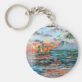 Peter Pan Hook's cove Tinker Bell painting Keychain