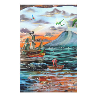 Peter Pan Hook's cove Tinker Bell painting Stationery