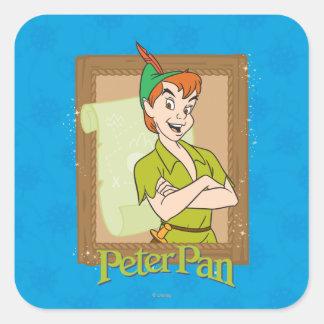 Peter Pan - marco Pegatina Cuadrada