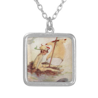 Peter Pan on Nest Raft Silver Plated Necklace