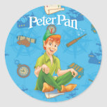 Peter Pan que se sienta Etiquetas Redondas