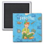 Peter Pan que se sienta Imán Cuadrado