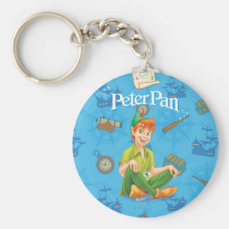 Peter Pan que se sienta Llavero Redondo Tipo Pin