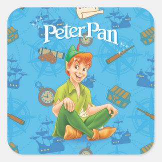 Peter Pan que se sienta Pegatina Cuadrada