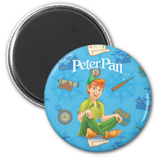 Peter Pan Sitting Down 2 Inch Round Magnet