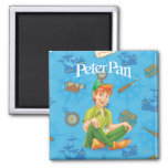 Peter Pan Sitting Down 2 Inch Square Magnet