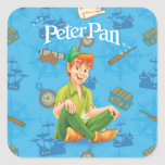 Peter Pan Sitting Down Square Sticker