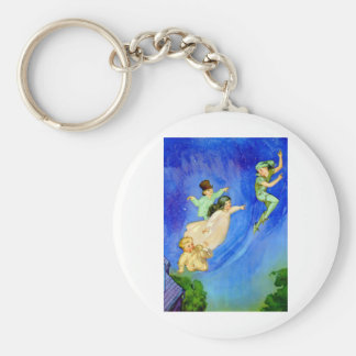 PETER PAN, WENDY, JOHN AND MICHAEL FLY AWAY BASIC ROUND BUTTON KEYCHAIN
