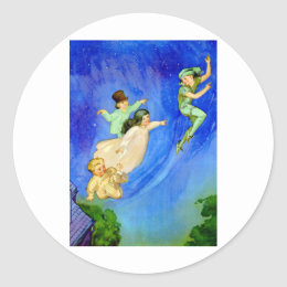 PETER PAN, WENDY, JOHN AND MICHAEL FLY AWAY CLASSIC ROUND STICKER