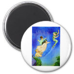 PETER PAN, WENDY, JOHN AND MICHAEL FLY AWAY 2 INCH ROUND MAGNET
