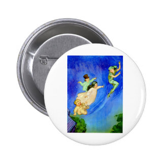 PETER PAN, WENDY, JOHN AND MICHAEL FLY AWAY PINBACK BUTTON