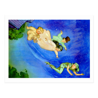 PETER PAN, WENDY, JOHN AND MICHAEL FLY AWAY POSTCARD