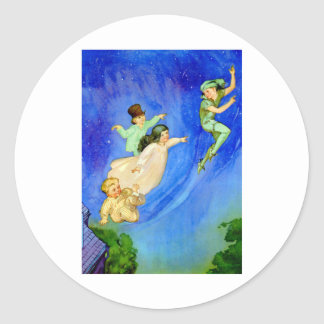 PETER PAN, WENDY, JOHN AND MICHAEL FLY AWAY ROUND STICKERS
