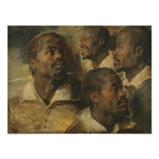 Peter Paul Rubens - cuatro estudios de una cabeza Cojinete