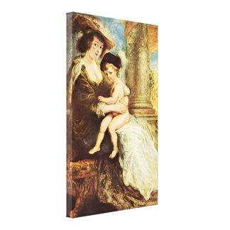Peter Paul Rubens - Elena Fourment con su hijo Impresión En Lienzo Estirada
