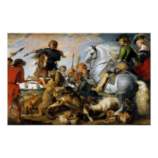 Peter Paul Rubens Wolf and Fox Hunt Poster
