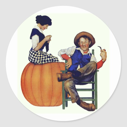 PETER, PETER, PUMPKIN EATER - HAD A WIFE & CLASSIC ROUND STICKER