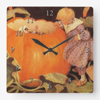 Peter, Peter, Pumpkin-Eater Nursery Rhyme Square Wall Clock