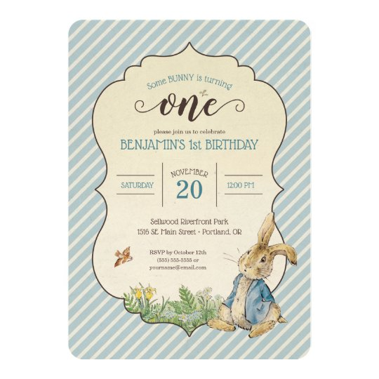 Peter Rabbit Babys First Birthday Invitation Zazzle