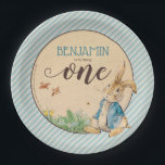"Peter Rabbit | Baby's First Birthday Paper Plate<br><div class=""desc"">Celebrate your child's First Birthday with these sweet Peter Rabbit striped blue paper plates.</div>"