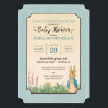 """Peter Rabbit   Boy Baby Shower Card<br><div class=""""desc"""">Invite all your family and friends to your Peter Rabbit themed baby shower with these sweet blue polka dot invitations.</div>"""