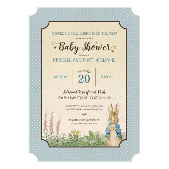 Peter Rabbit Boy Baby Shower Invitation Zazzle Com