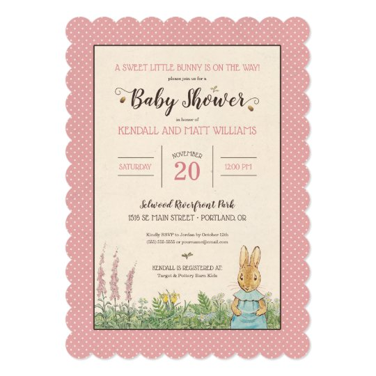 Peter Rabbit Girl Baby Shower Invitation Zazzle Com