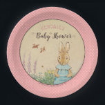 """Peter Rabbit   Girl Baby Shower Paper Plate<br><div class=""""desc"""">It&#39;s a Girl! Celebrate your Peter Rabbit themed Baby Shower with these sweet pink polka-dot paper plates.</div>"""