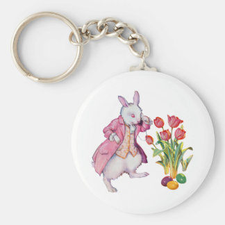 Peter Rabbit Inspects the Easter Eggs Basic Round Button Keychain