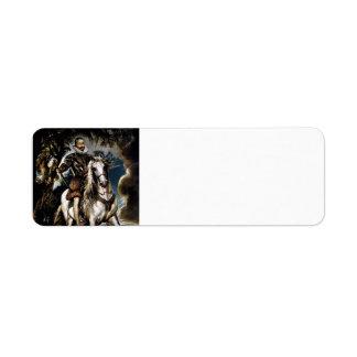 Peter Rubens- Equestrian Portrait of Duke, Lerma Return Address Label