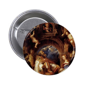 Peter Rubens-Saint Gregory with Saint Domitilla Pinback Button