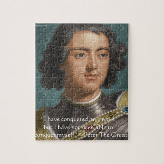"""Peter The Great """"Conquer Myself"""" Quote Gifts & Tee Jigsaw Puzzle"""