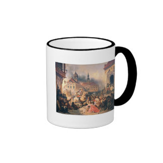 Peter the Great conquers Narva in 1704, 1859 Ringer Coffee Mug