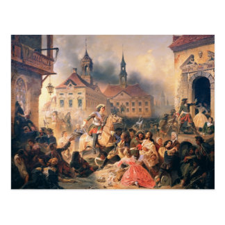 Peter the Great conquers Narva in 1704, 1859 Postcard