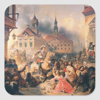 Peter the Great conquers Narva in 1704, 1859 Square Sticker