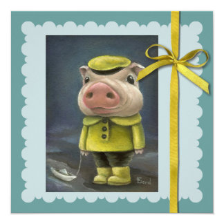 Peter the pig sailing his boat card