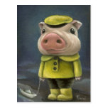 Peter the pig sailing his boat postcard