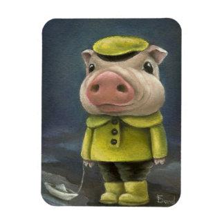 Peter the pig sailing his boat rectangular photo magnet